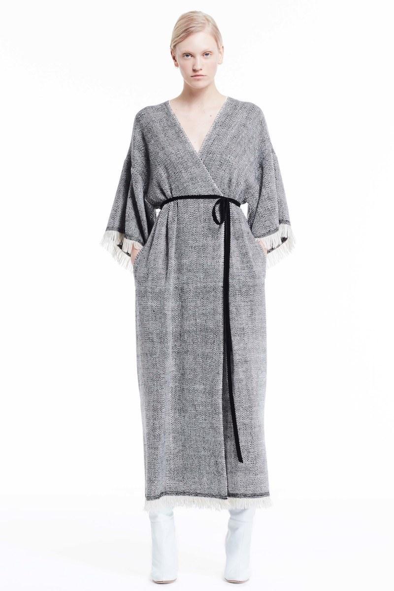 Adam Lippes Fringe Trim Twill Woven Dress