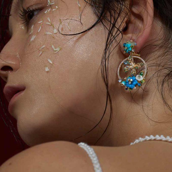 Anabela Chan Turquoise Butterfly Wreath Earrings
