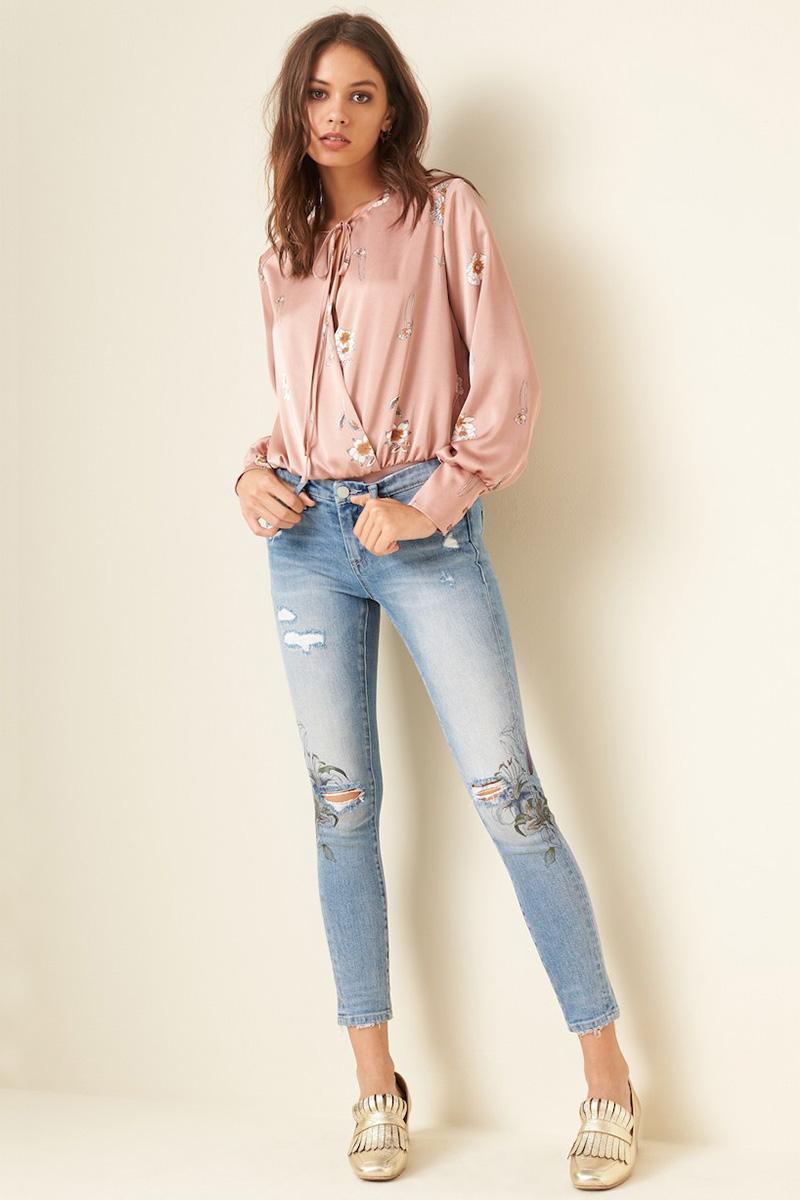 BLANKNYC Print Ripped Skinny Jeans