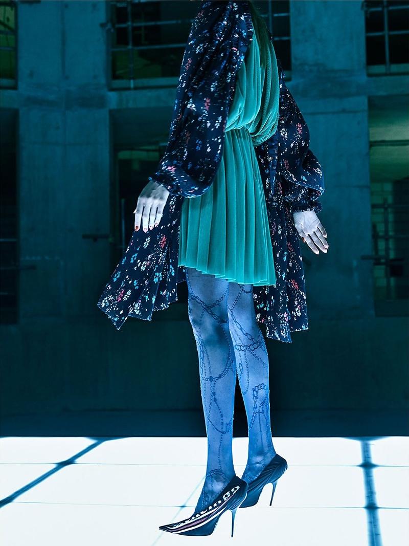 Balenciaga Floral-Print Tie-Neck Dress