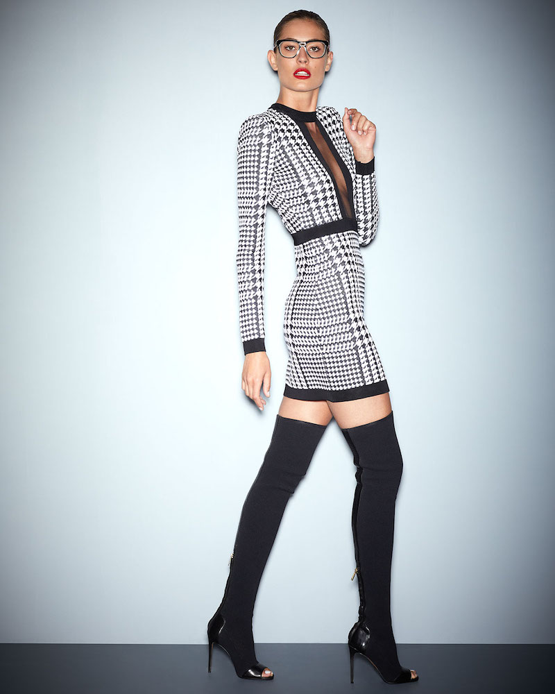 Balmain Long-Sleeve Houndstooth Minidress