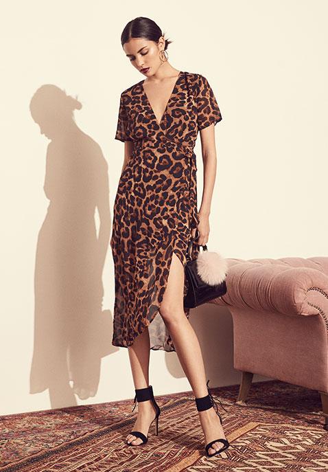 Bardot Leopard Wrap Dress