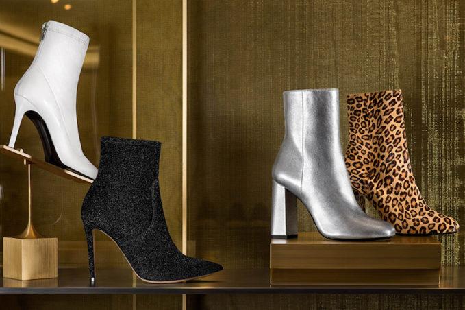Barneys New York Lula Sock-Style Metallic-Knit Ankle Boots