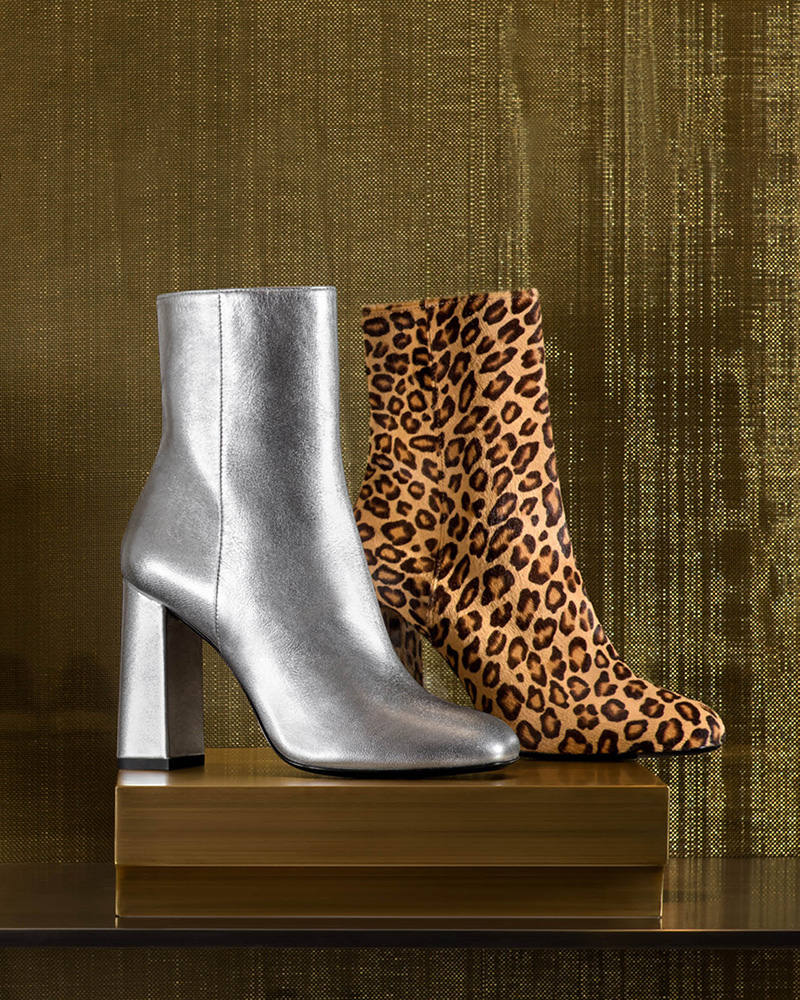 Barneys New York Metallic Leather Ankle Boots