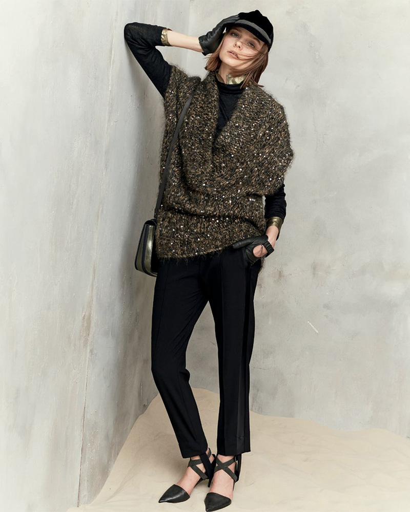 Brunello Cucinelli Paillette-Embellished Cap-Sleeve Tunic Sweater