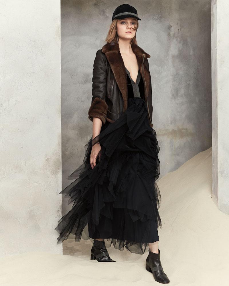 Brunello Cucinelli Velvet & Tulle Tiered Monili-Trim Gown