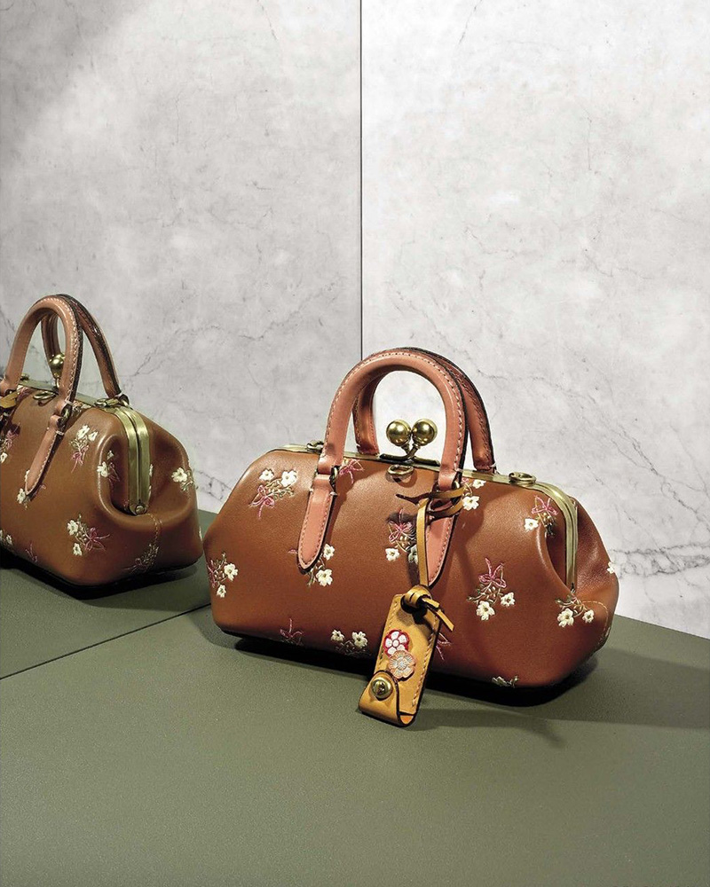 COACH 1941 Floral Kiss-Lock Leather Satchel