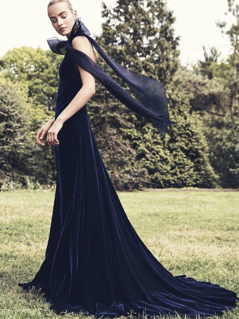 Carolina Herrera Velvet Open-Back Gown with Organza Bow
