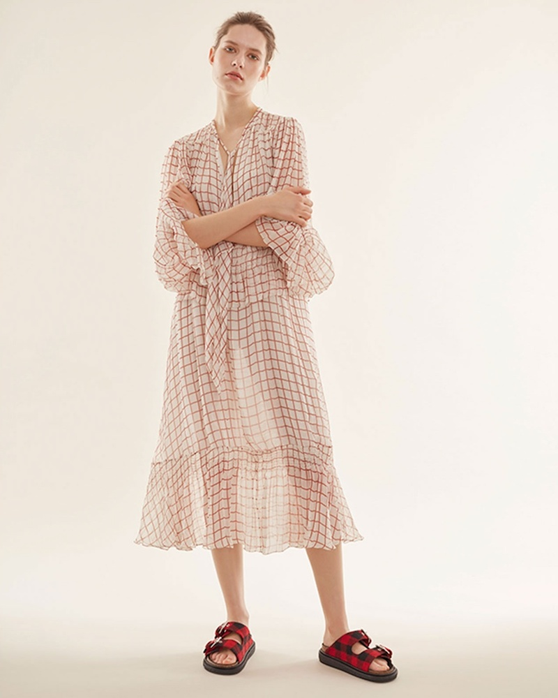 Chloé Grid-Print Georgette Midi Dress