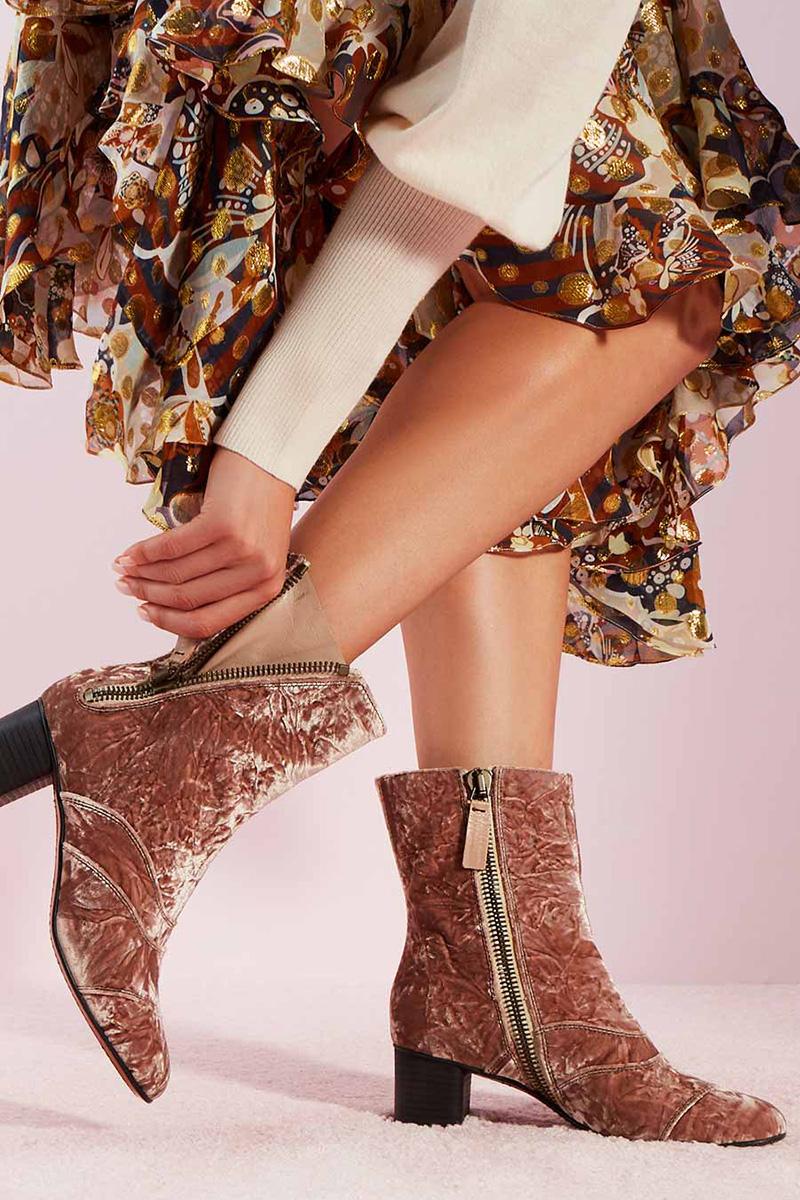 Chloé Crushed Velvet Block-Heel Bootie
