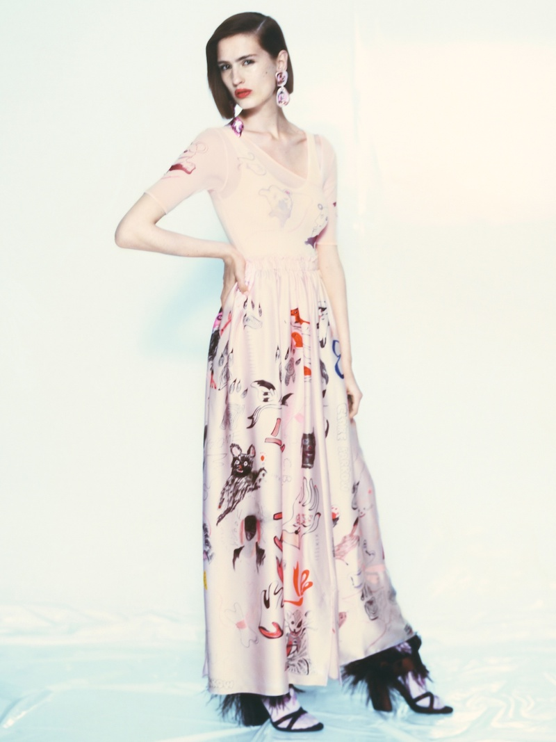Claire Barrow Animal-Print Strapless Silk-Satin Dress