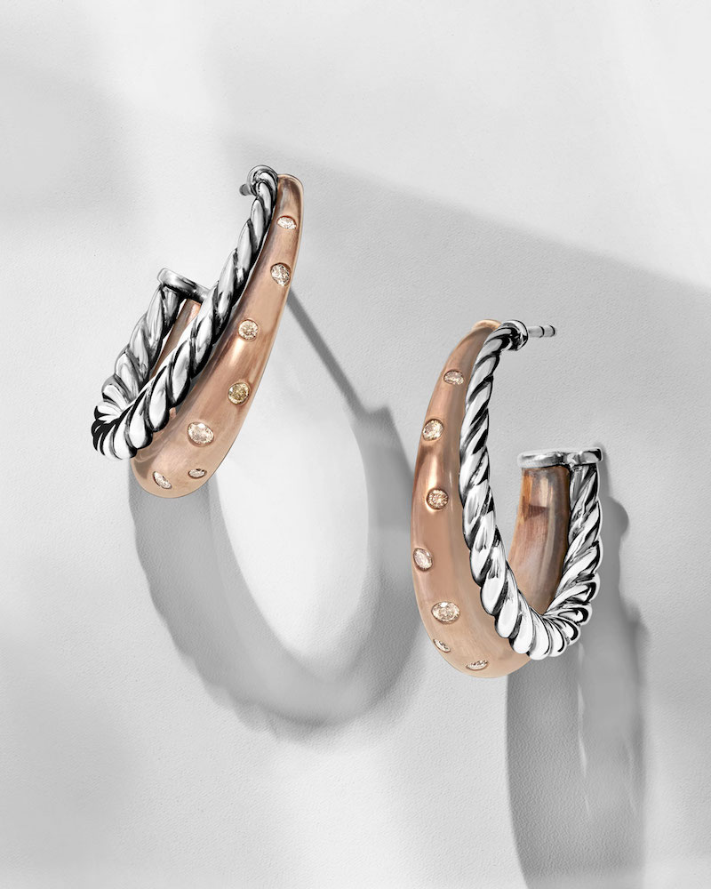 David Yurman Pure Form Bronze & Silver Hoop Earrings with Cognac Diamonds