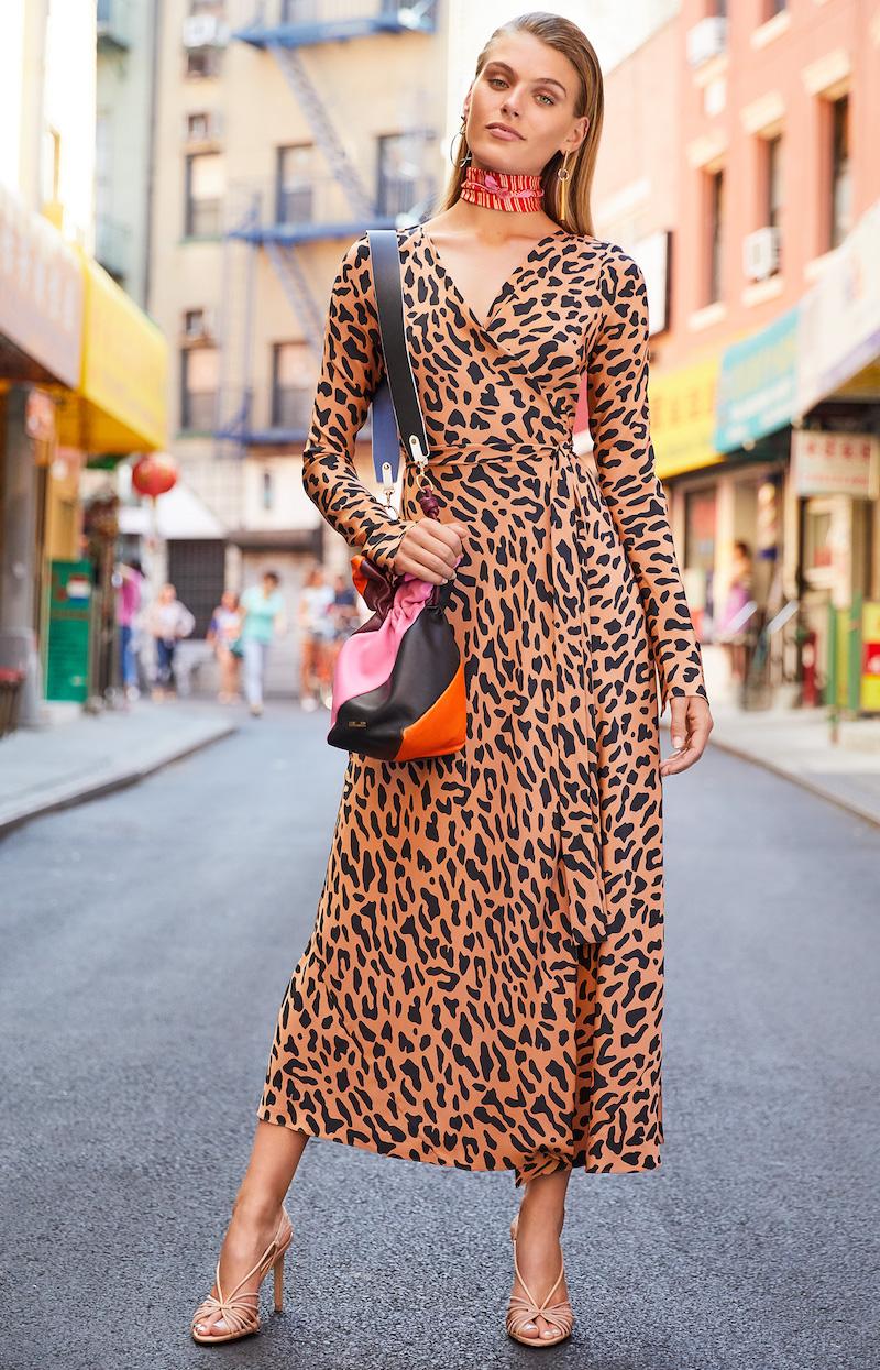 Diane von Furstenberg L/S Woven Wrap Dress