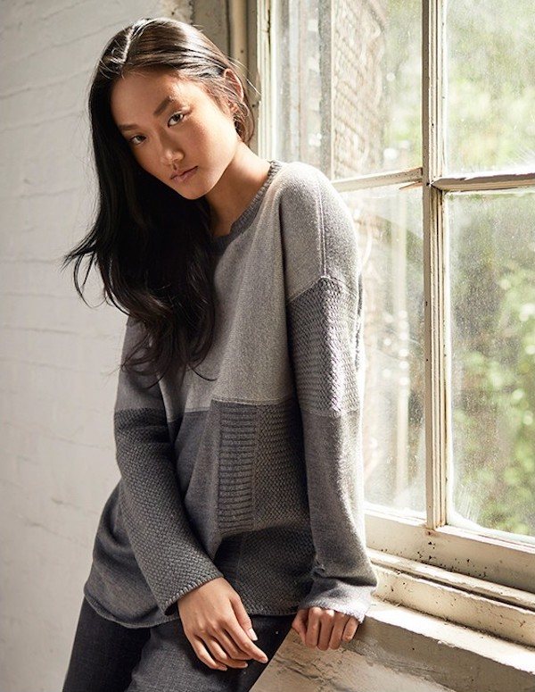 Eileen Fisher Colorblock Cashmere Sweater