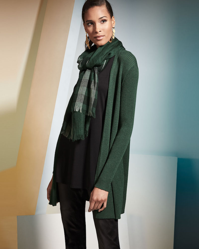 Eileen Fisher Long Straight Wool Crepe Cardigan