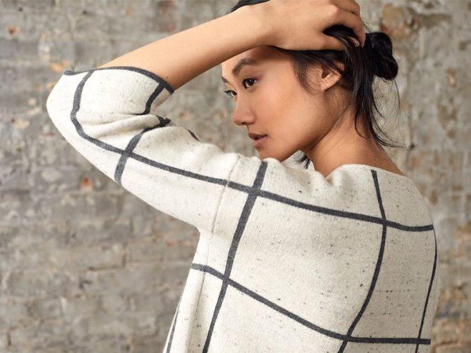 Eileen Fisher Windowpane Check Boxy Sweater 1