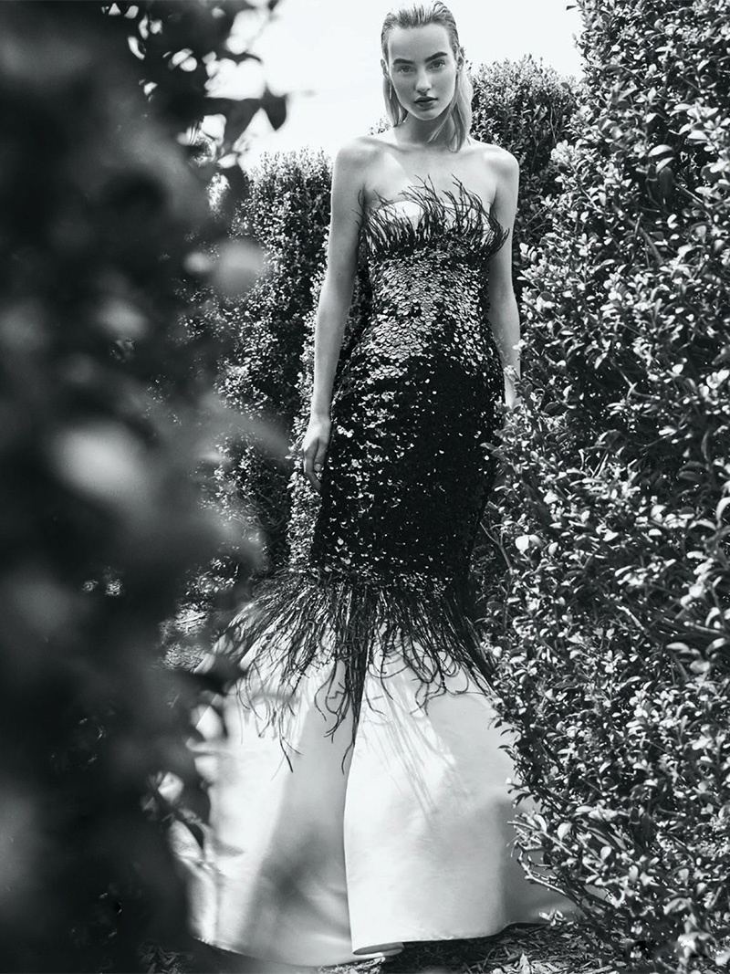 Elizabeth Kennedy Strapless Mermaid Gown With Sequin and Feather Embroidery