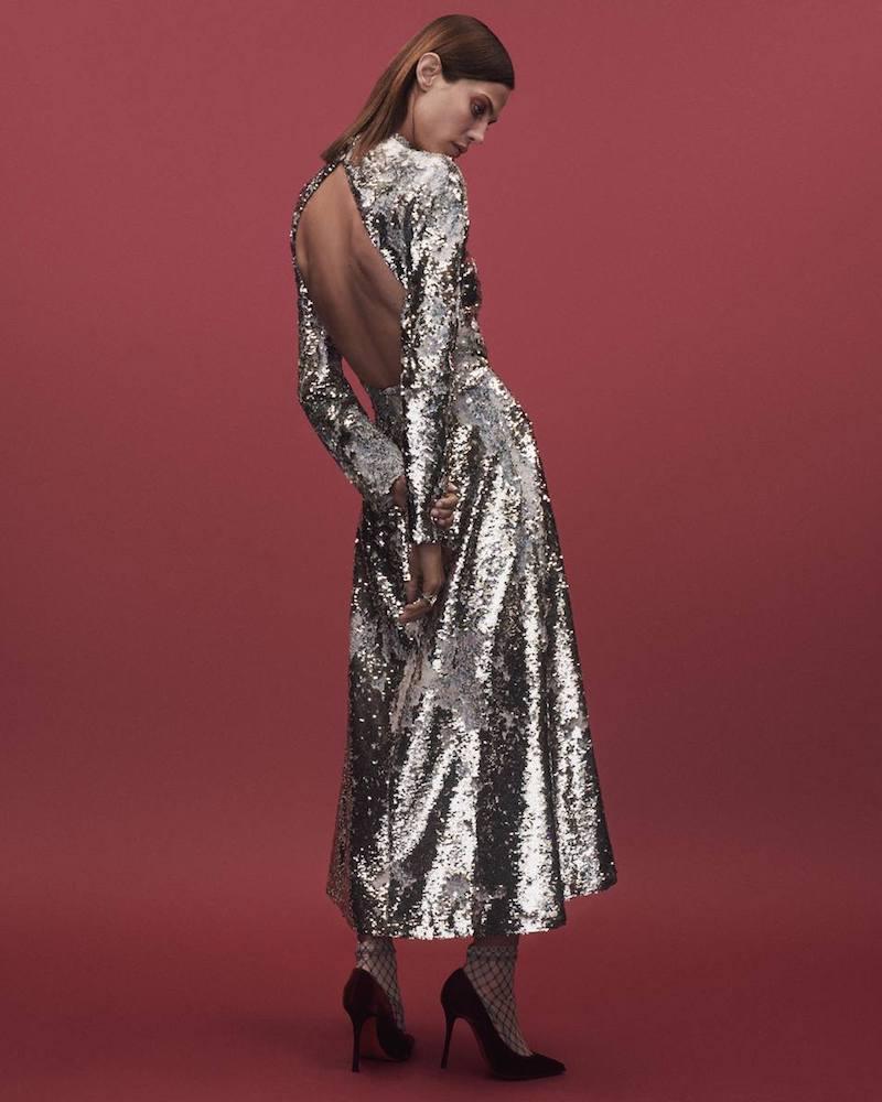 Emilia Wickstead Roma Open-Back Sequin Dress