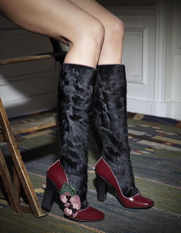 Fabrizio Viti Violets For Your Fur Knee Boots