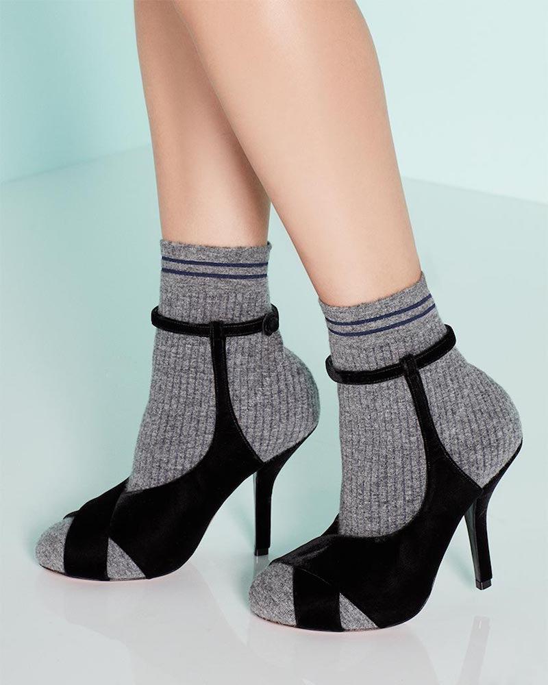 Fendi Suede & Knit Sock Bootie