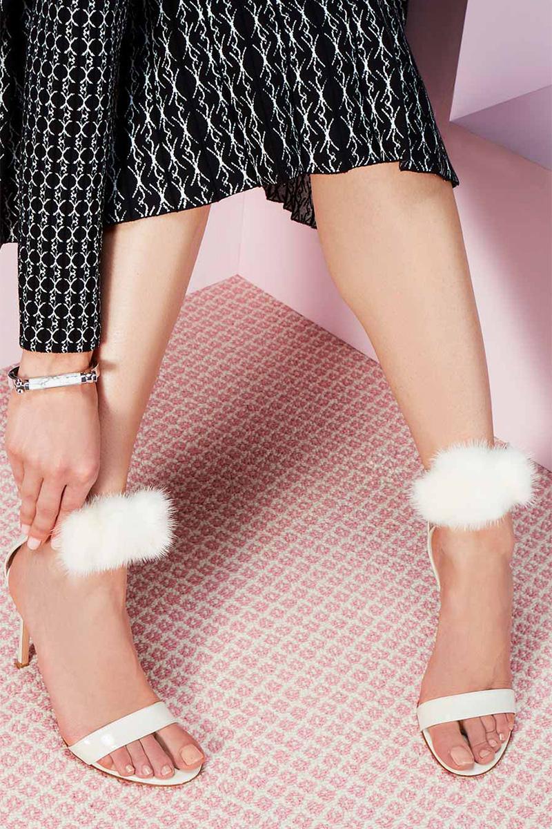 Gianvito Rossi Brigitte Patent Mink-Trim Sandal