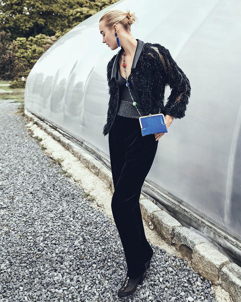 Giorgio Armani Velvet Boucle Bracelet-Sleeve Jacket
