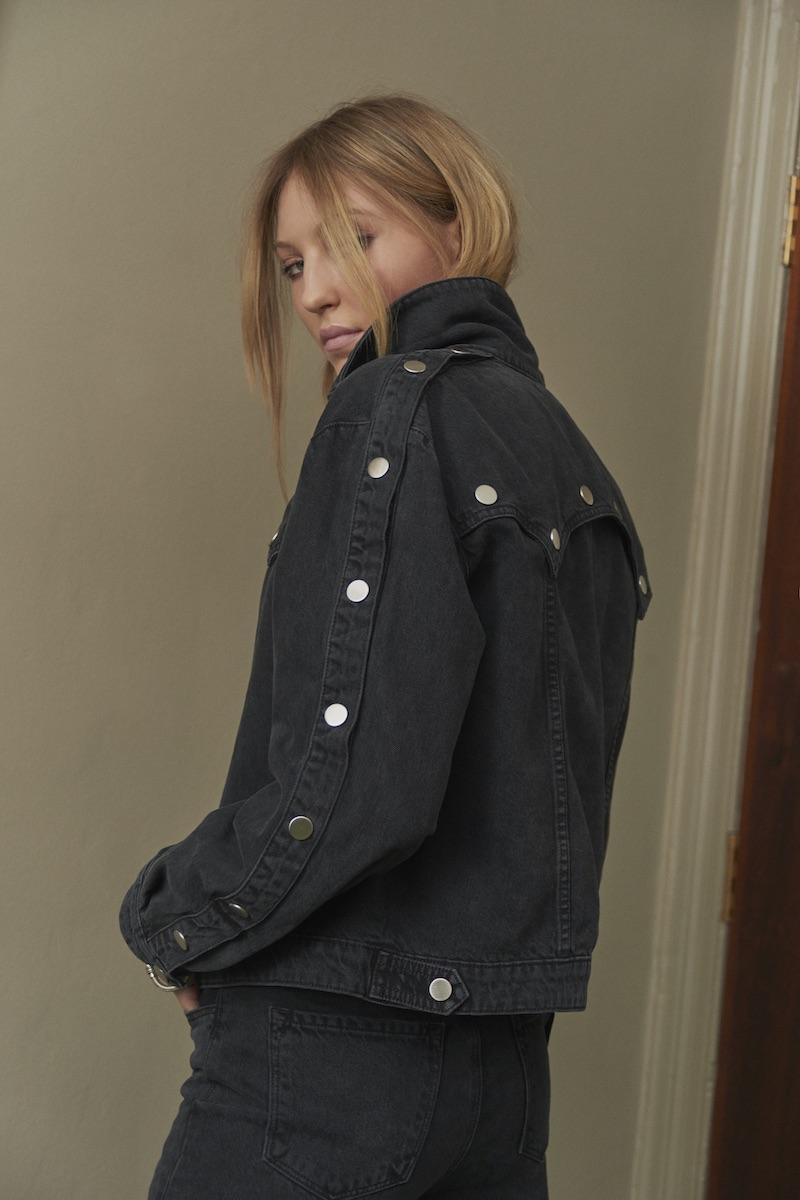 J Brand x Bella Freud Debbie Snap Front Jacket in Overthrow