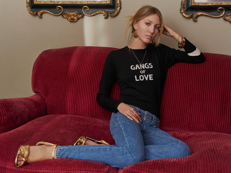 J Brand x Bella Freud Gangs of Love Jumper in Black