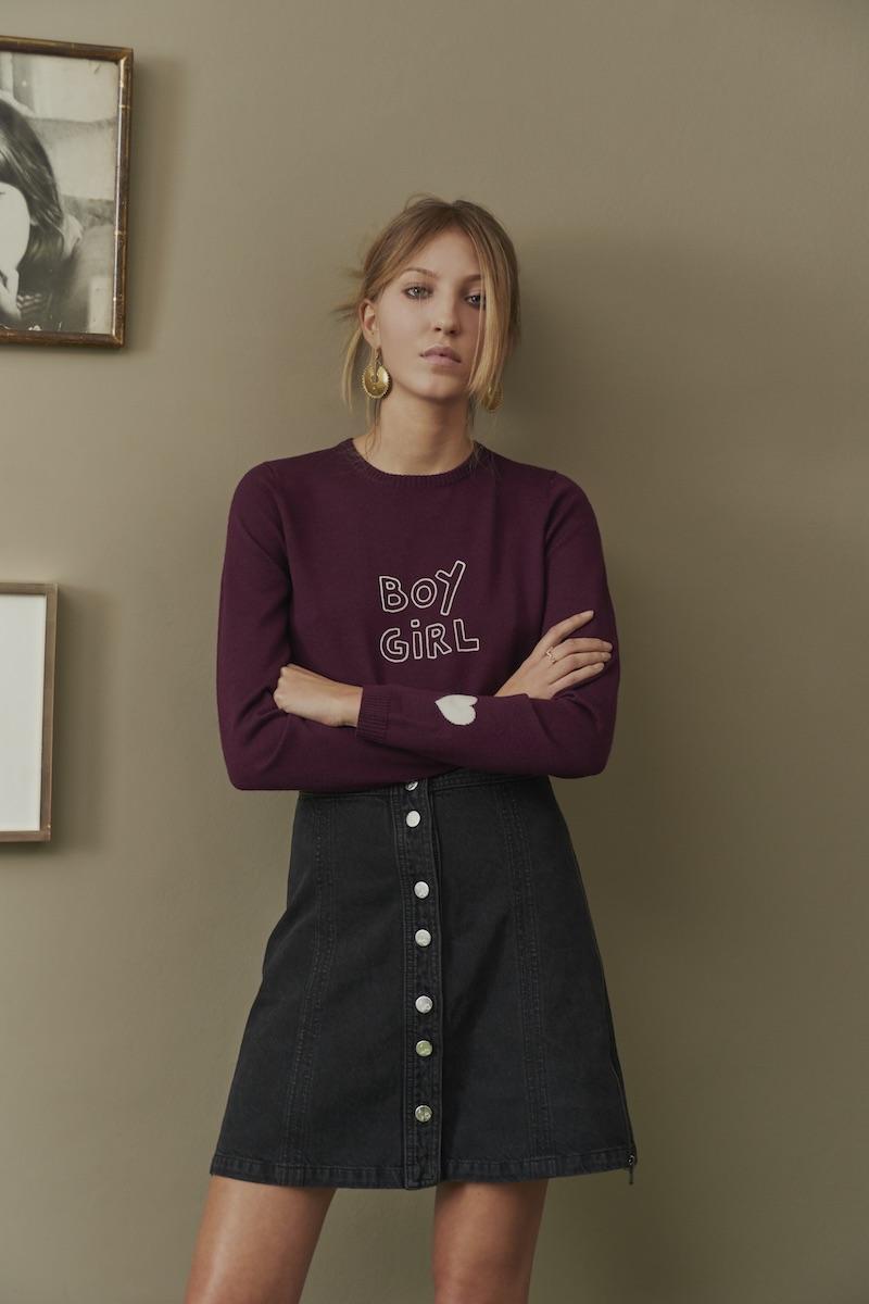 J Brand x Bella Freud Nashville Button Front Skirt in Overthrow