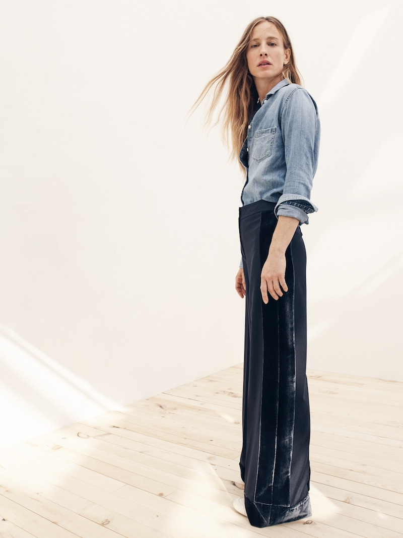 J.Crew Collection Wide-Leg Pant With Velvet