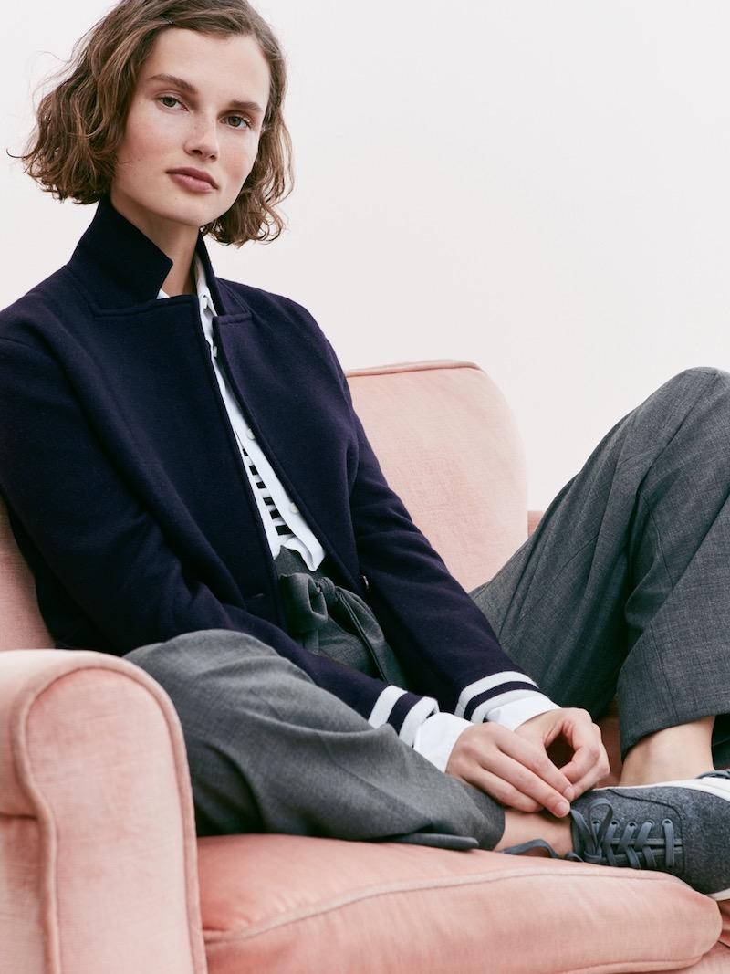 J.Crew Merino Wool Sweater-Blazer With Striped Lining