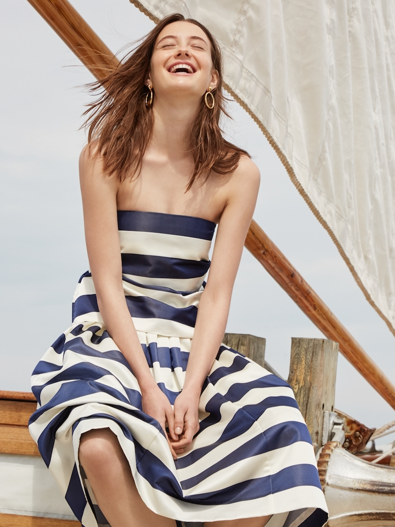 J.Crew Pleated Satin Skirt In Stripe