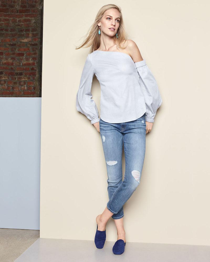 JEN7 Distressed Skinny Ankle Jeans