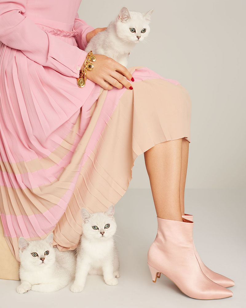 Jeffrey Campbell Muse Satin Kitten Heel Booties