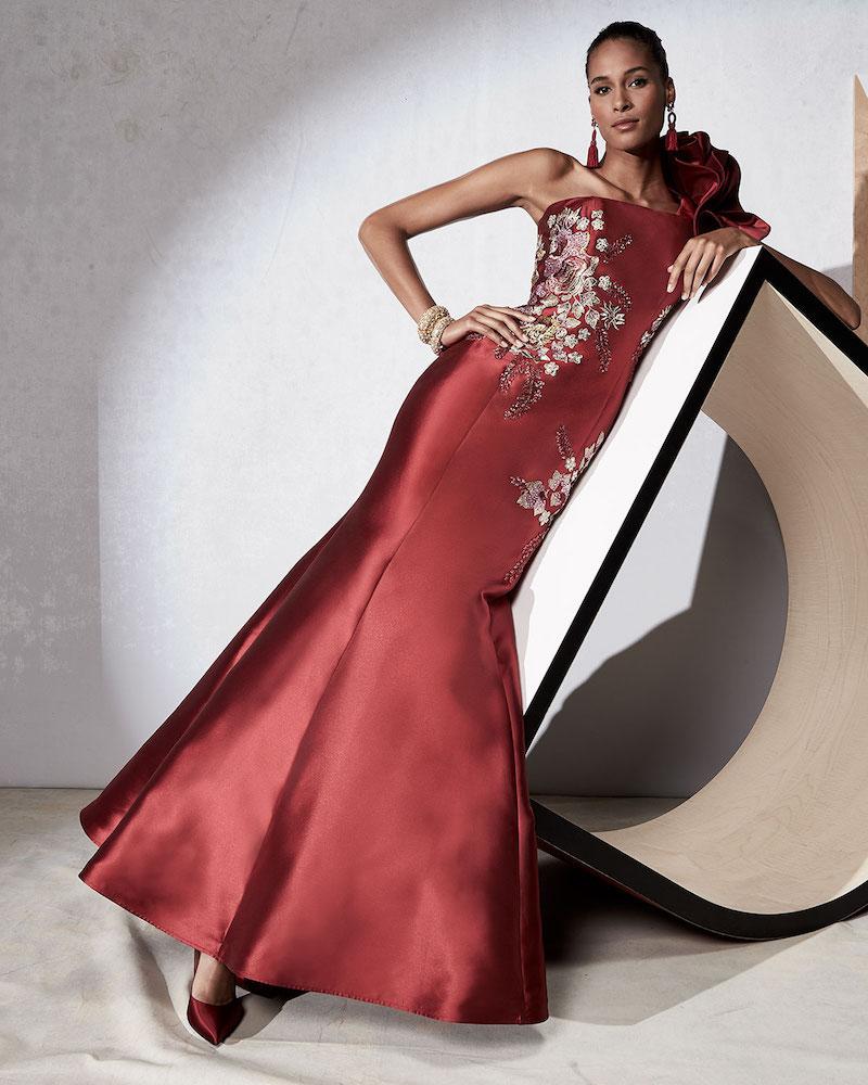 Jovani Floral-Embroidered One-Shoulder Evening Gown