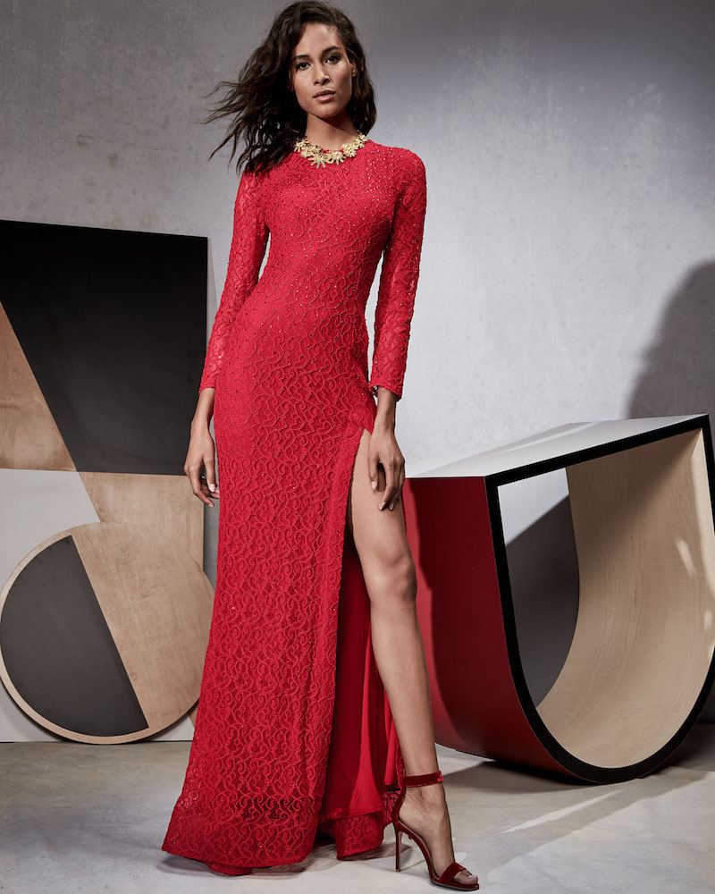 Jovani Long-Sleeve Slit Lace Evening Gown
