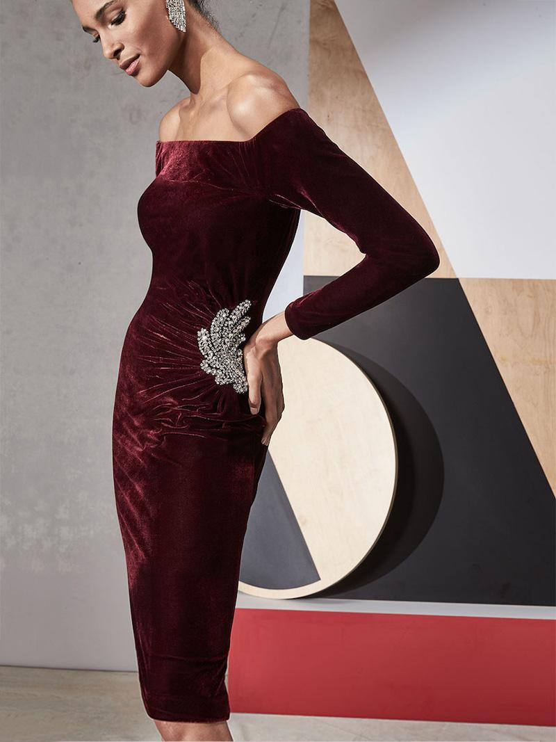 Jovani Off-the-Shoulder Velvet Cocktail Dress with Side Embellishment