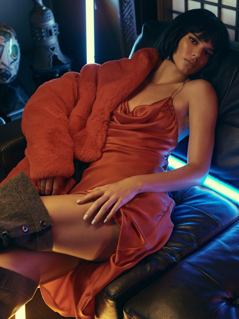 KENDALL + KYLIE Silk Cowlneck Dress in Red