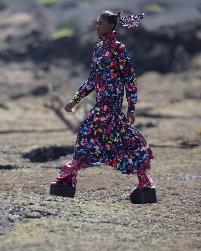 KENZO Wild Flowers Print Tiered Taffetas Dress