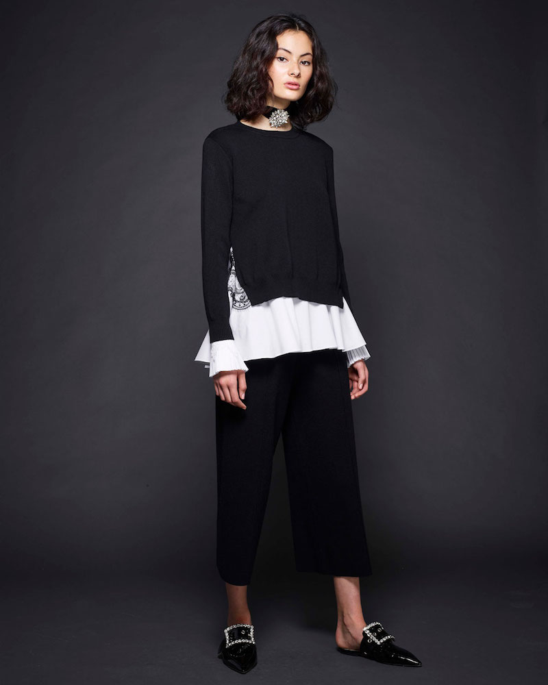 Kobi Halperin Adela Layered Sweater & Shirting Combo Top