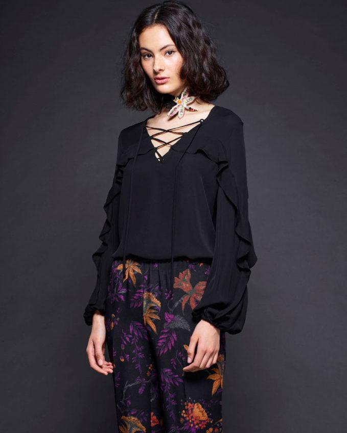 Kobi Halperin Corrie Long-Sleeve Lace-Up Silk Blouse
