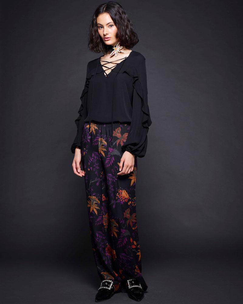 Kobi Halperin Ori Floral-Print Wide-Leg Silk Pants