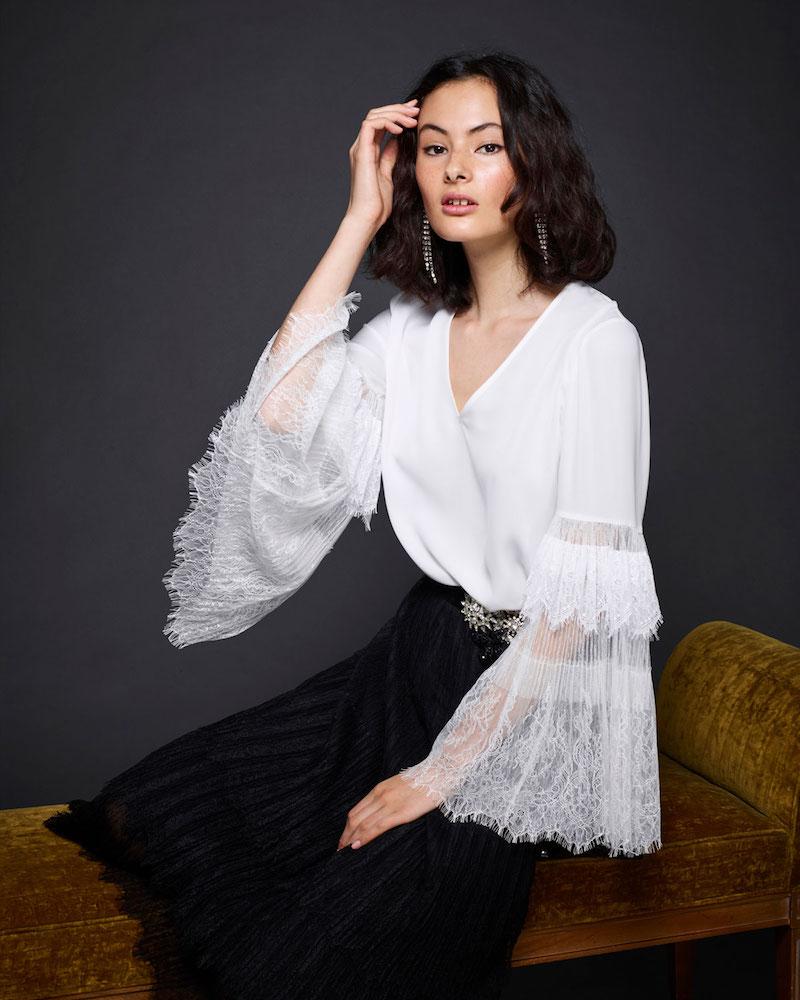 Kobi Halperin Steph Lacy Bell-Sleeve Silk Blouse