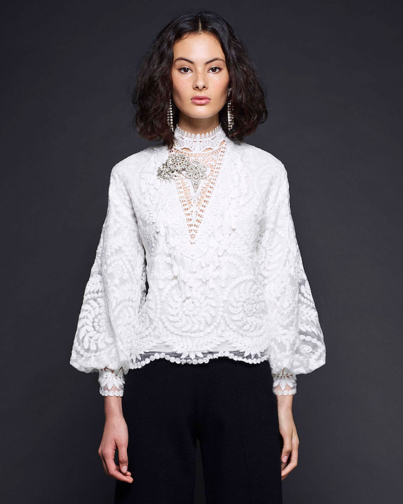 Kobi Halperin Yadira Bishop-Sleeve Silk Lace Blouse
