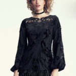 Kobi Halperin x Erte Sarina Long-Sleeve Crocheted Velvet & Satin Blouse