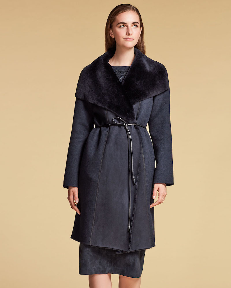 Lafayette 148 New York Farah Shearling Fur-Trim Coat