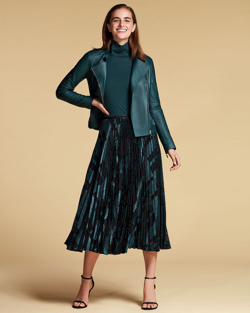 Lafayette 148 New York Florianna Pleated Midi Skirt