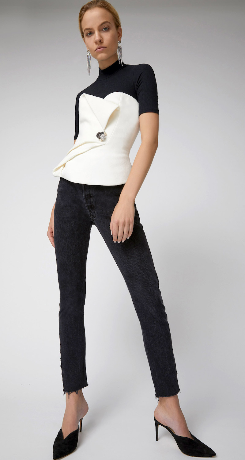 Lanvin Strapless Top With Jeweled Brooch Detail