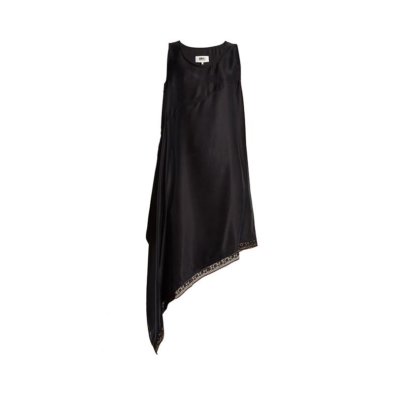 MM6 by Maison Margiela Asymmetric-Hem Sandwashed-Satin Dress