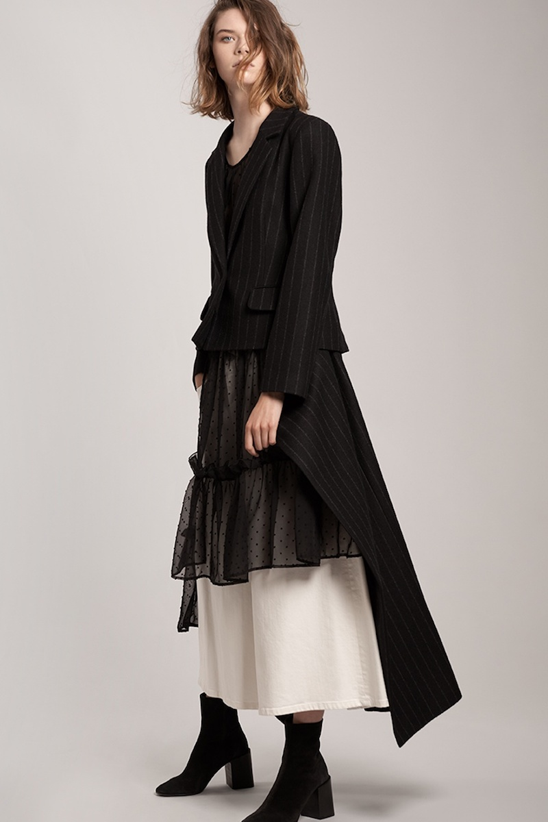 MM6 by Maison Margiela Detachable-Hem Striped Wool-Blend Coat